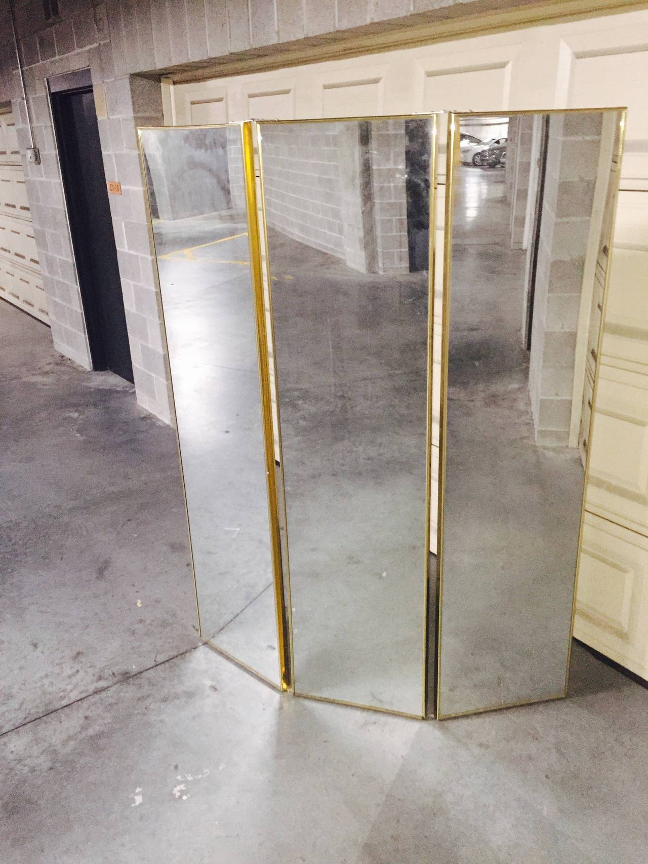 Mid Century Brass Full Length Folding Floor Mirror Screen