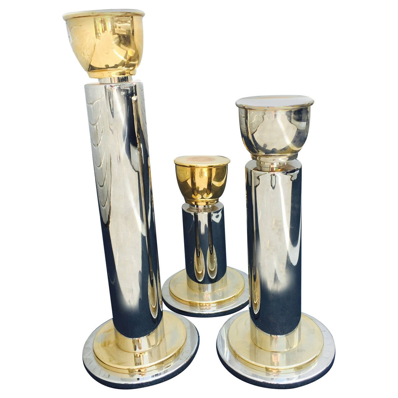 Large Chrome And Brass Sculptural Candle Holder Set At 1stdibs