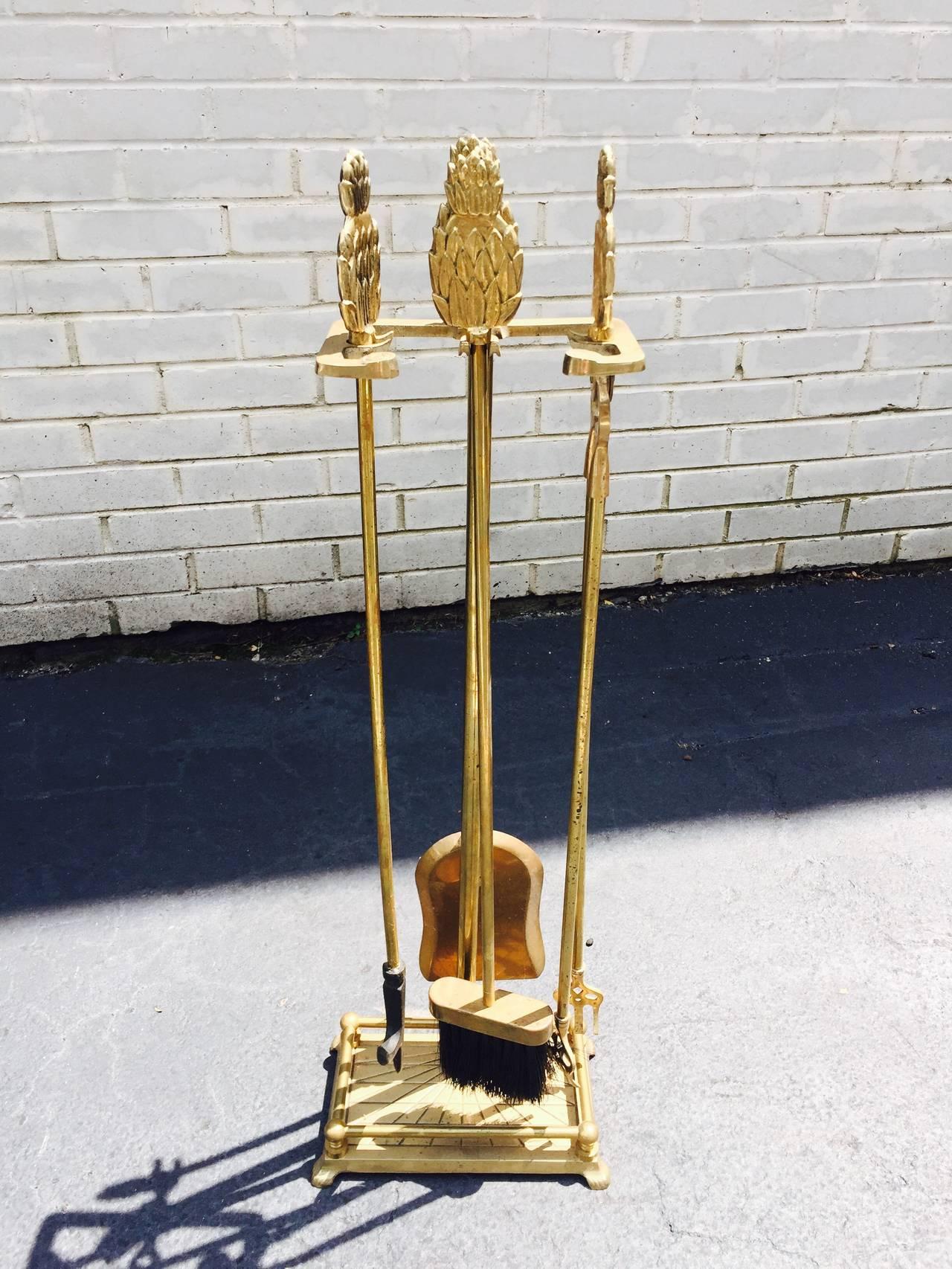 brass pineapple sculptural art deco fireplace tool set for
