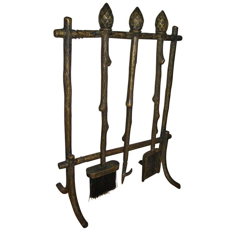 Acorn Handle Decorative Faux Bamboo Fire Tool Set At 1stdibs