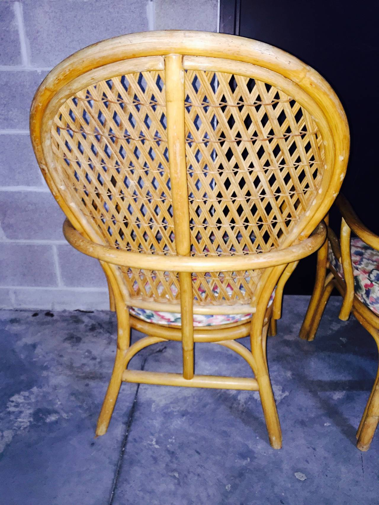 Pair of Sculptural Rattan Wicker Lounge Chairs at 1stdibs