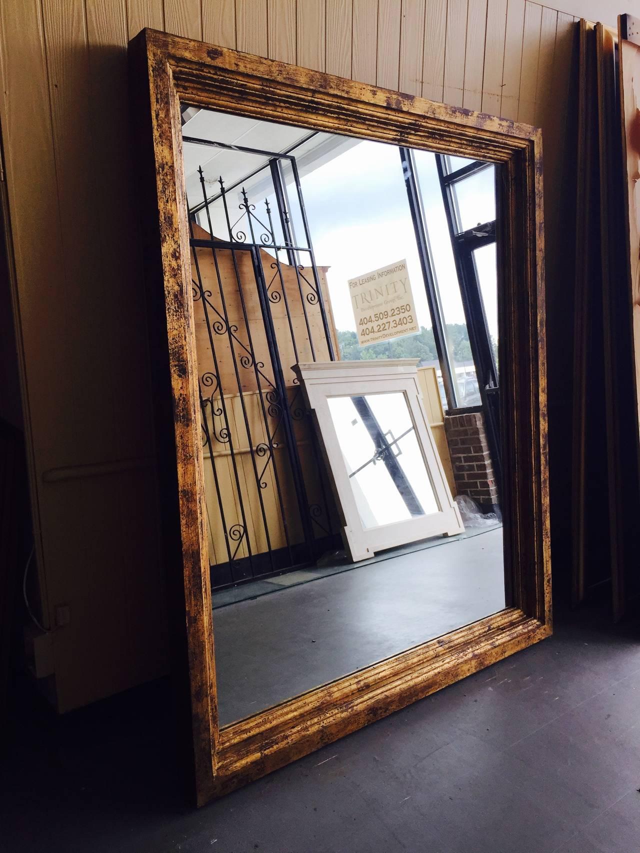 Oversized guilded wood full length floor mirror image 5 for Wood floor length mirror