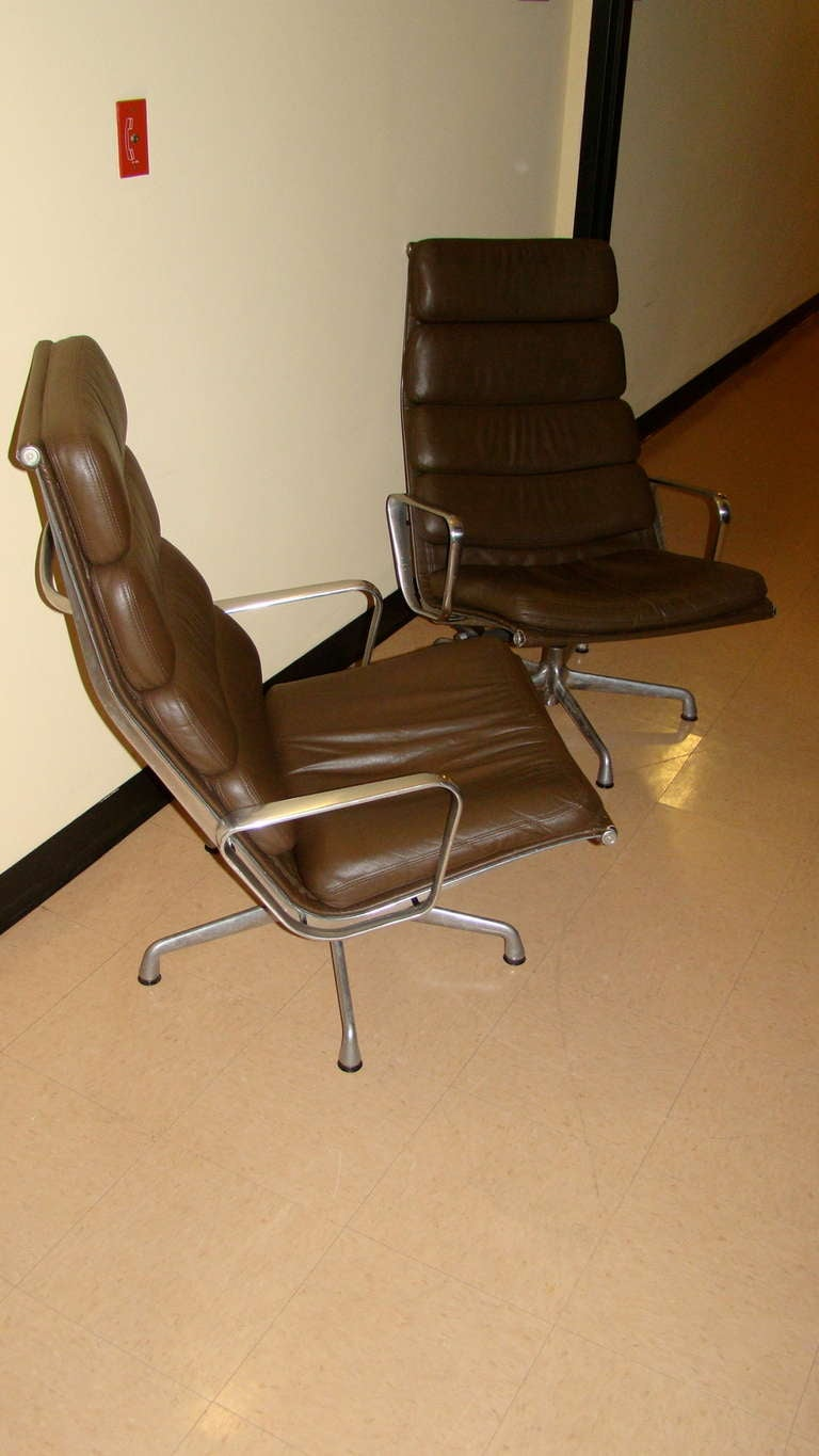 Charles Eames Herman Miller Leather Soft Pad Lounge Chair Pair At 1stdibs
