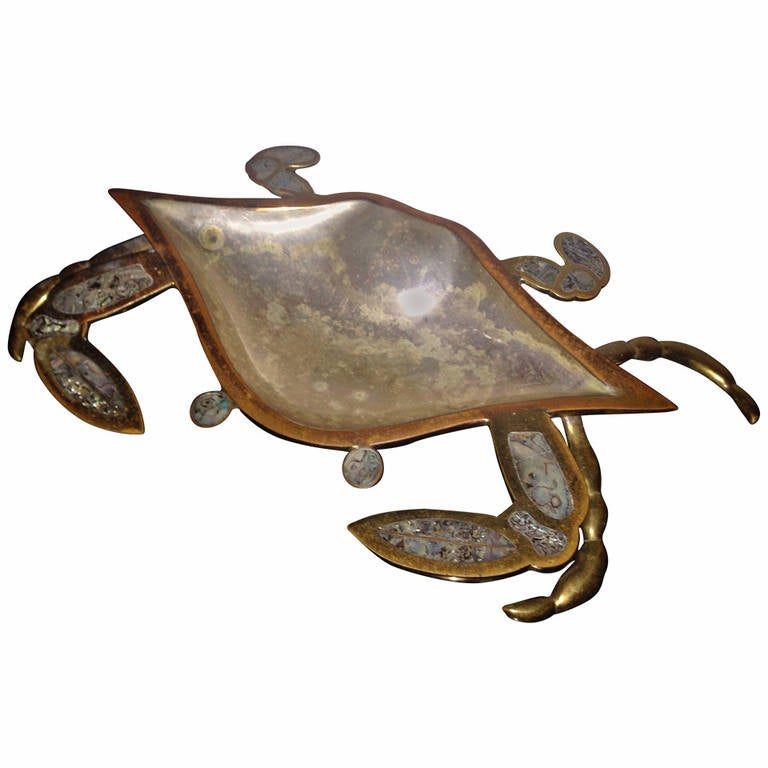 Mexican Abalone And Brass Crab Sculpture Dish At 1stdibs