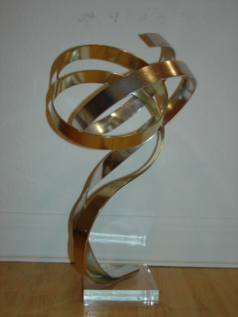 Large Dan Murphy Abstract Metal Ribbon Sculpture Signed At