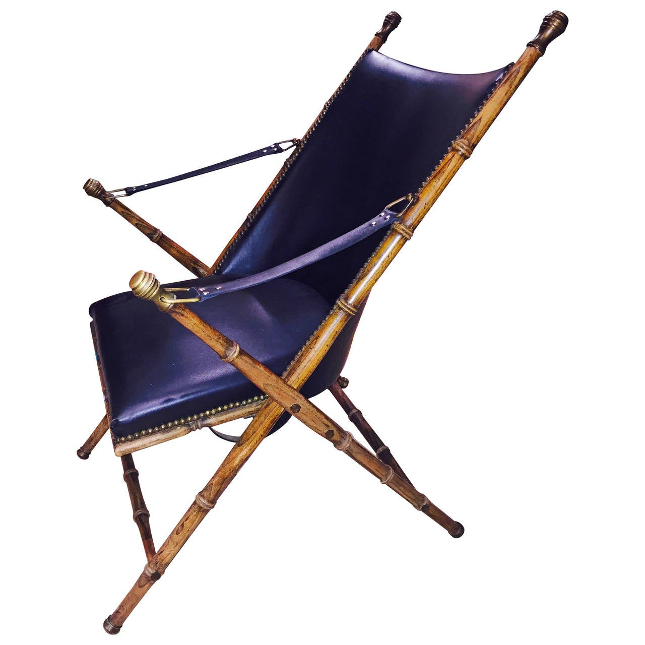 Sculptural Faux Bamboo Campaign Folding Chair at 1stdibs
