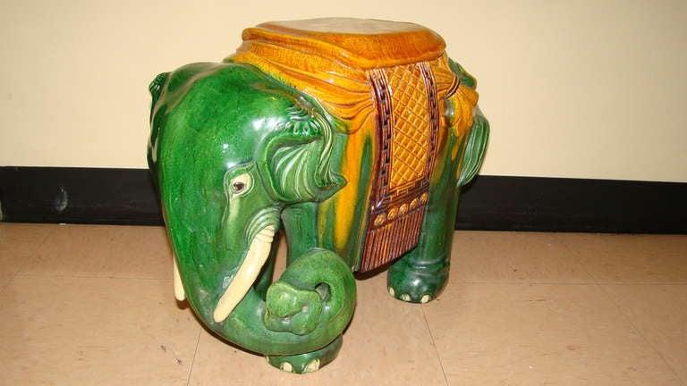 Glazed Terracotta Elephant Garden Table Stool 3