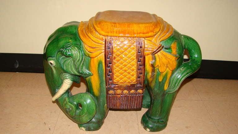 Glazed Terracotta Elephant Garden Table Stool 4