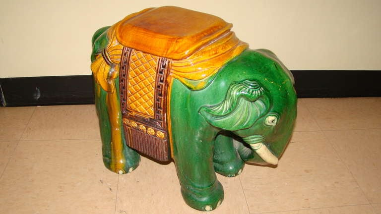Glazed Terracotta Elephant Garden Table Stool 5