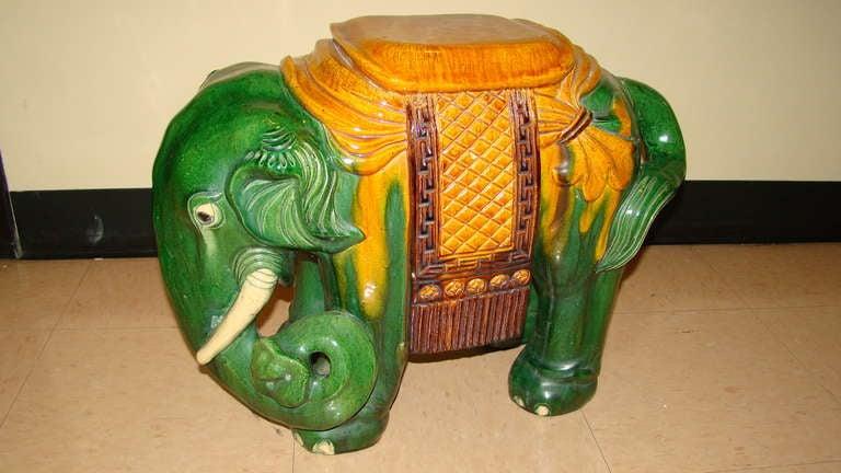 Glazed Terracotta Elephant Garden Table Stool 2