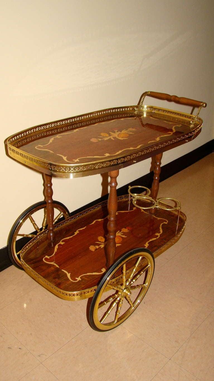 Italian Inlaid Mid Century Rolling Bar Cart At 1stdibs