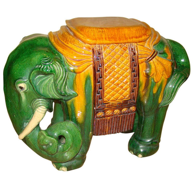 Glazed Terracotta Elephant Garden Table Stool At 1stdibs
