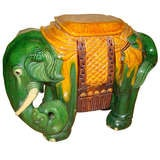Glazed Terracotta Elephant Garden Table Stool