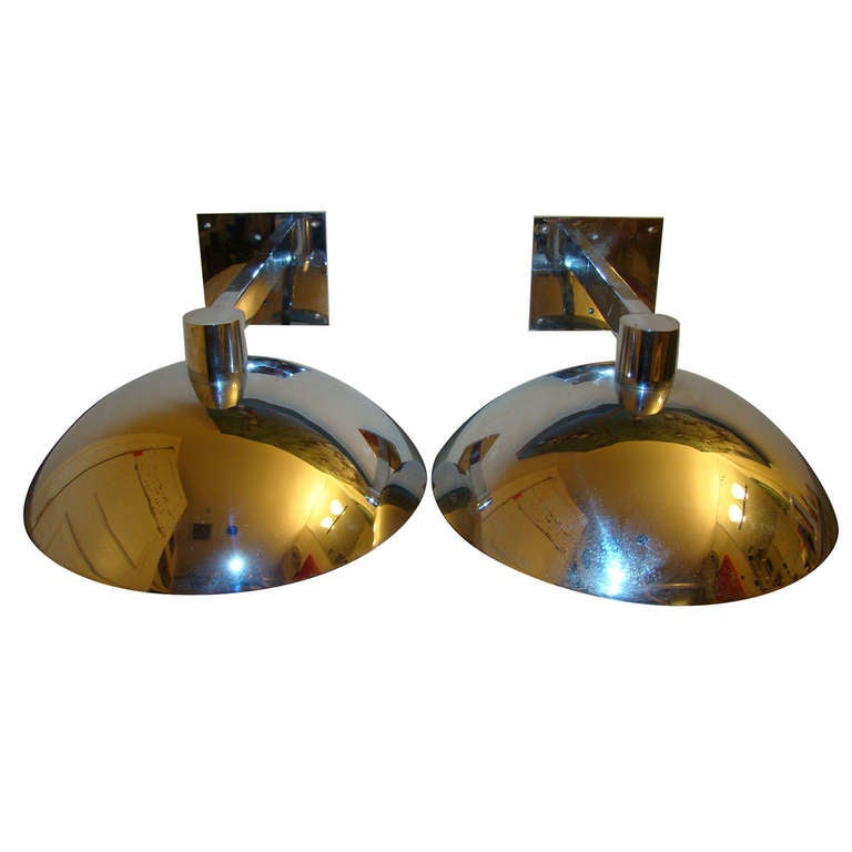 Chrome Mid Century Art Deco Wall Sconce Lamp Pair at 1stdibs