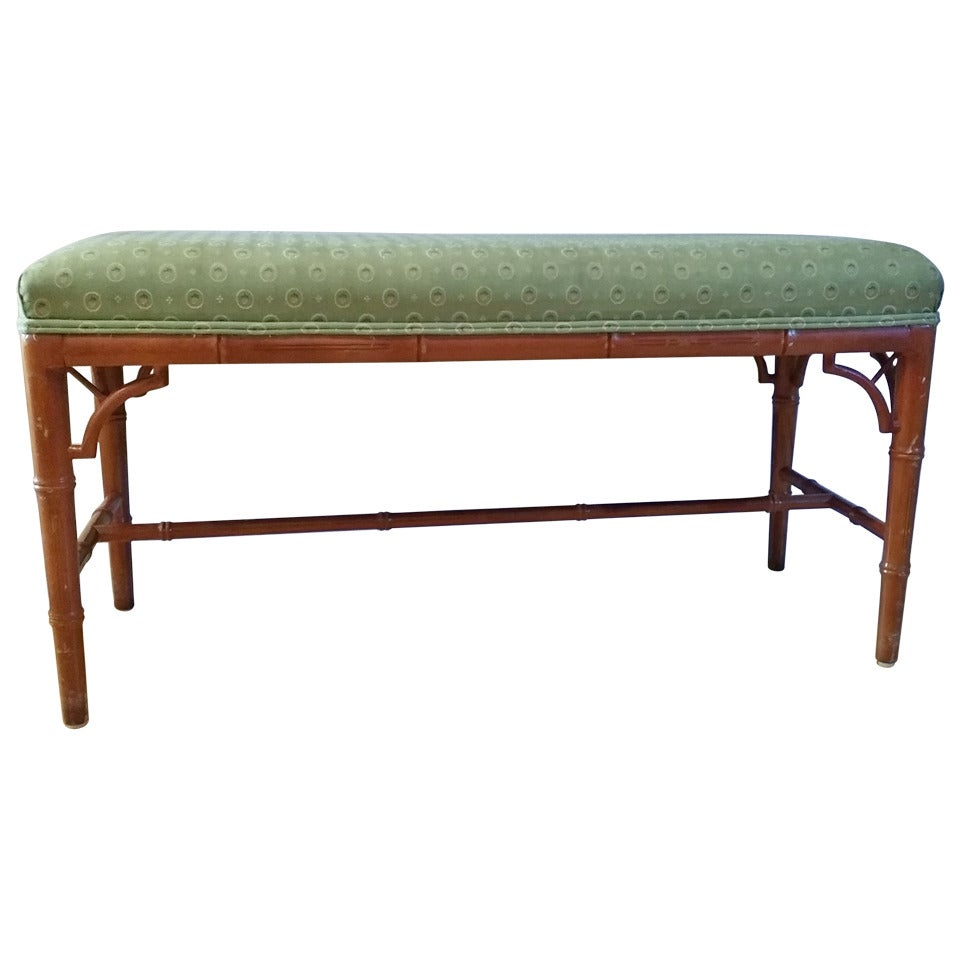 faux bamboo chippendale hollywood regency pagoda bench at