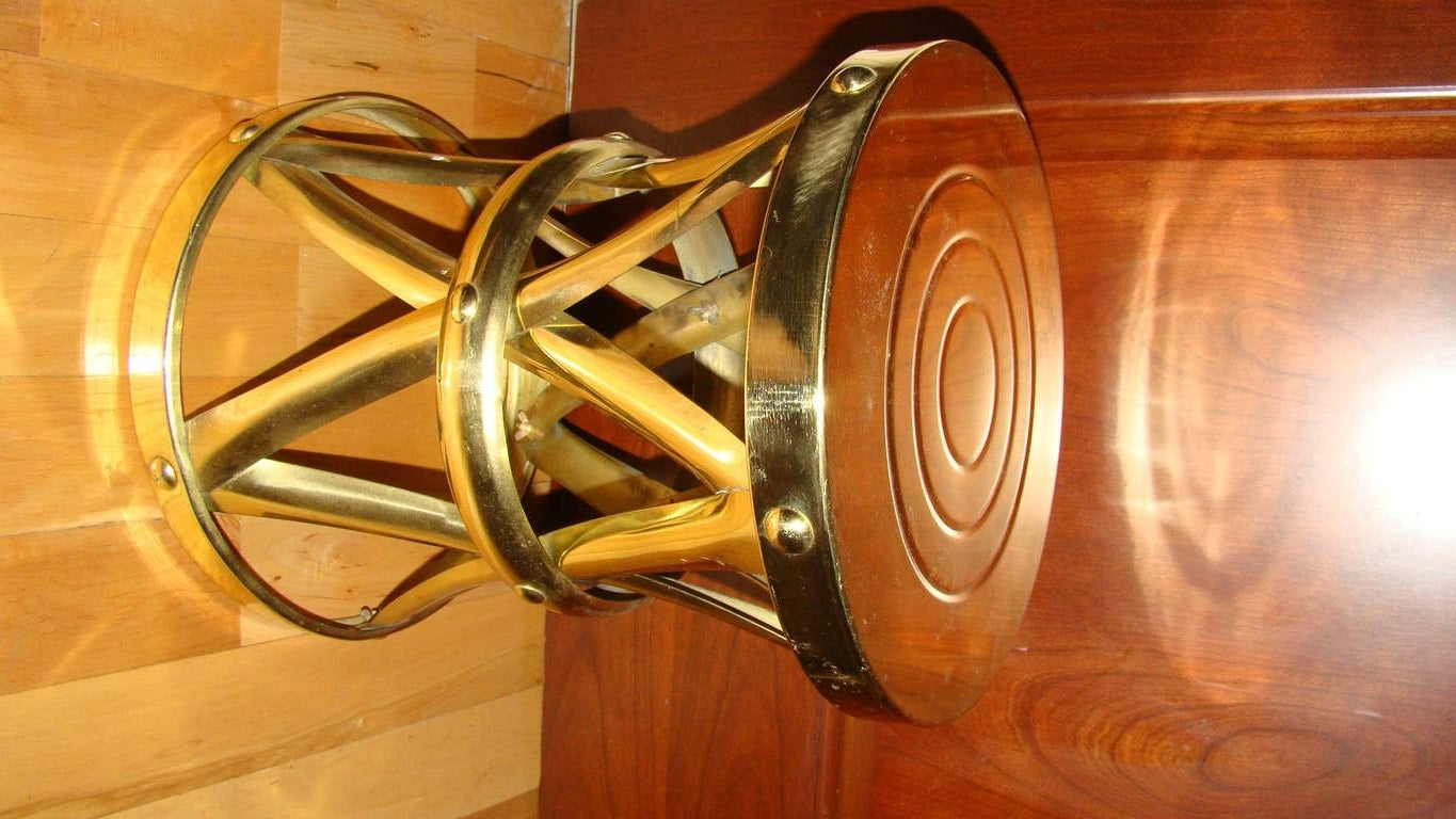 Sarreid Polished Brass Mid Century Drum Table Stool At