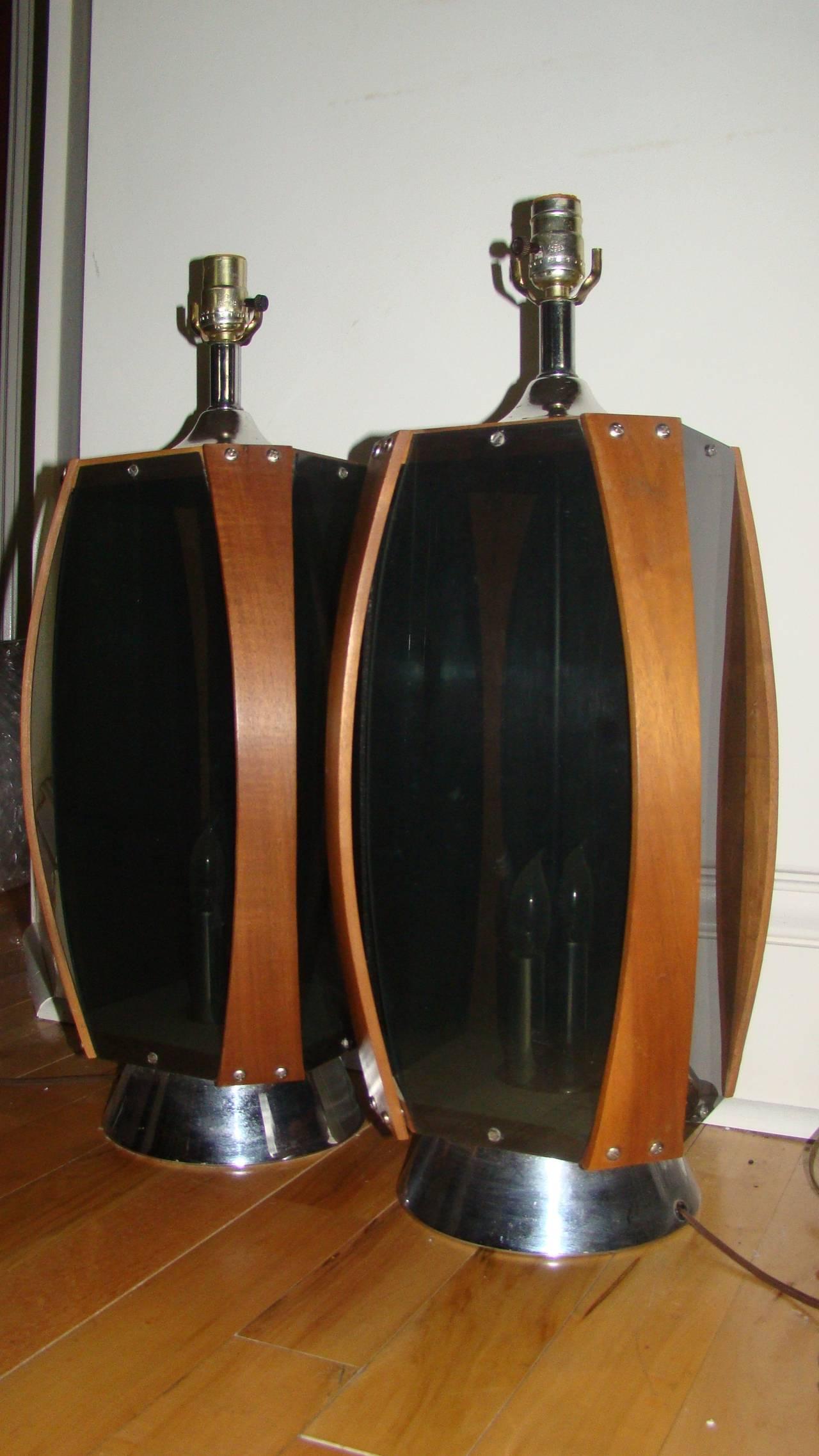 Pair Of Danish Modern Acrylic And Teak Mid Century Lamps