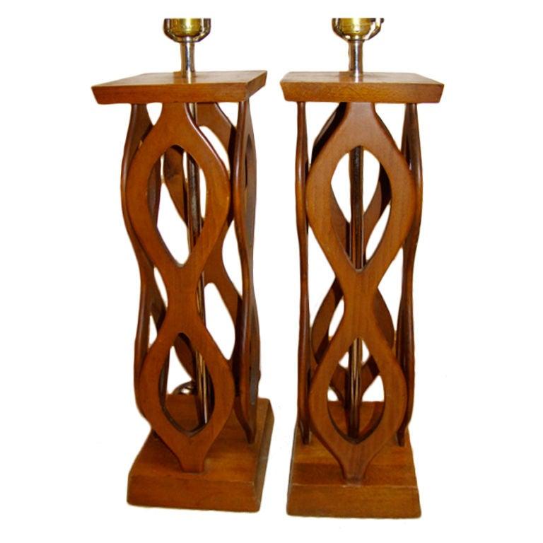 this danish modern mid century sculptural wood lamp pair is no longer