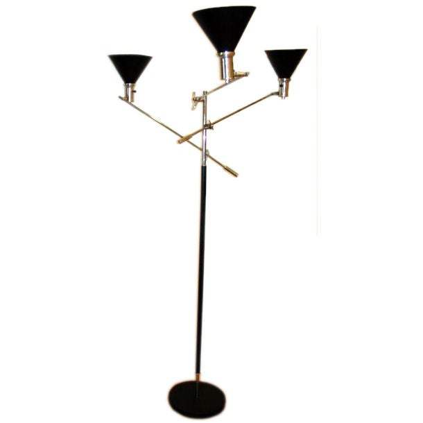 italian 3 arm mid century floor lamp with cone shades at
