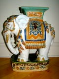 Hand Painted & Glazed Majolica Elephant Garden Table Stool image 2