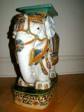 Hand Painted & Glazed Majolica Elephant Garden Table Stool image 3