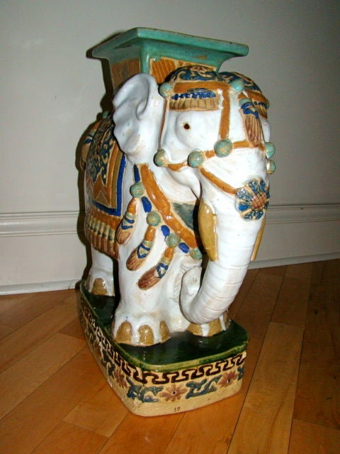 Hand Painted And Glazed Majolica Elephant Garden Table