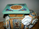 Hand Painted & Glazed Majolica Elephant Garden Table Stool image 5
