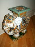Hand Painted & Glazed Majolica Elephant Garden Table Stool image 6