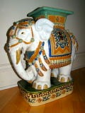 Hand Painted & Glazed Majolica Elephant Garden Table Stool image 7