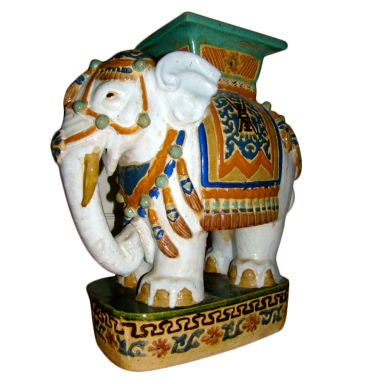 Hand Painted & Glazed Majolica Elephant Garden Table Stool
