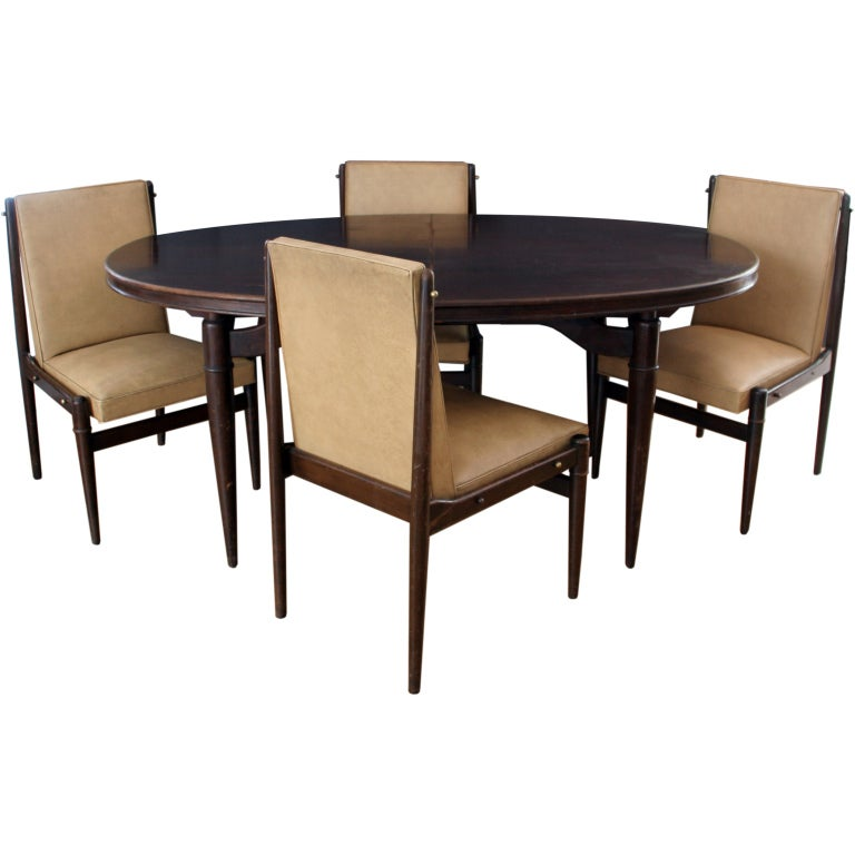 Frank kyle set of dining table and six chairs at 1stdibs for Six chair dining table set