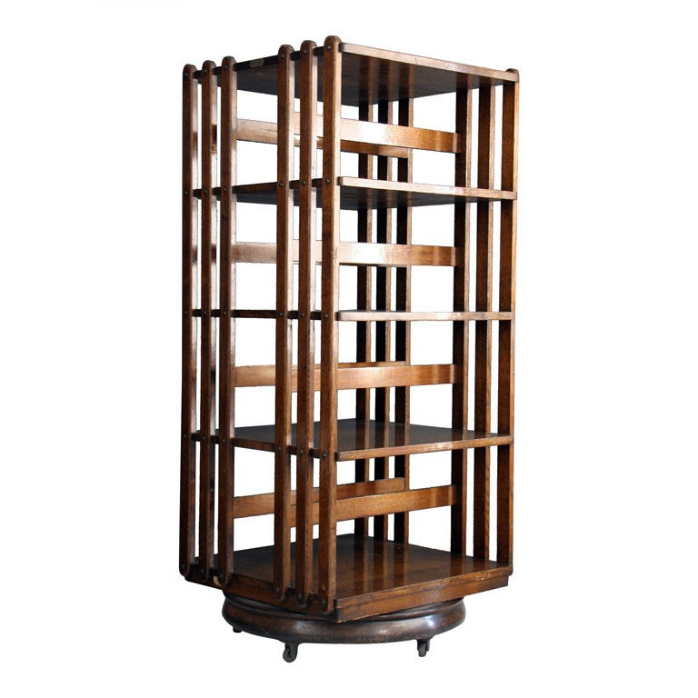 Revolving Oak Bookcase By Sargent Mfg Co At 1stdibs