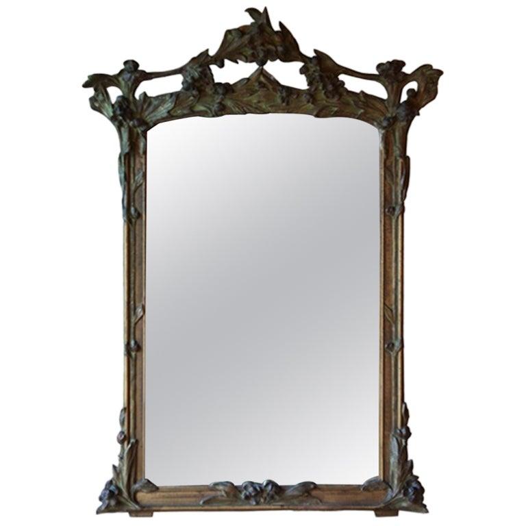 French art nouveau mirror at 1stdibs for Miroir art nouveau