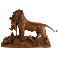 French Bronze Lion By Auguste Cain