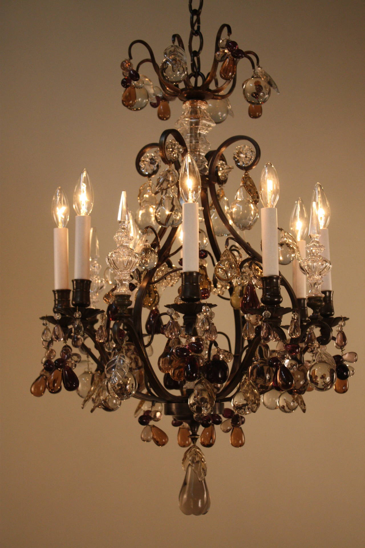 Beautiful Color Crystal Chandelier at 1stdibs