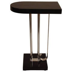 American Black Lacquer and Nickel Art Deco Table by Charles Hardy