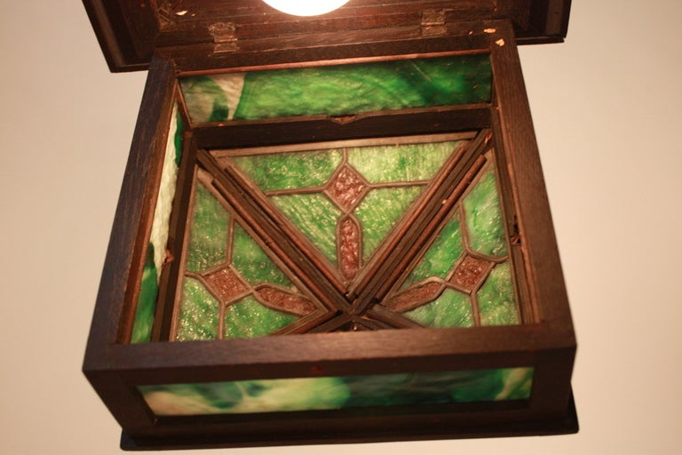 American stained glass mission arts and crafts ceiling for Arts and crafts flush mount lighting