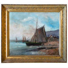 Sailboat Oil on Canvas Painting