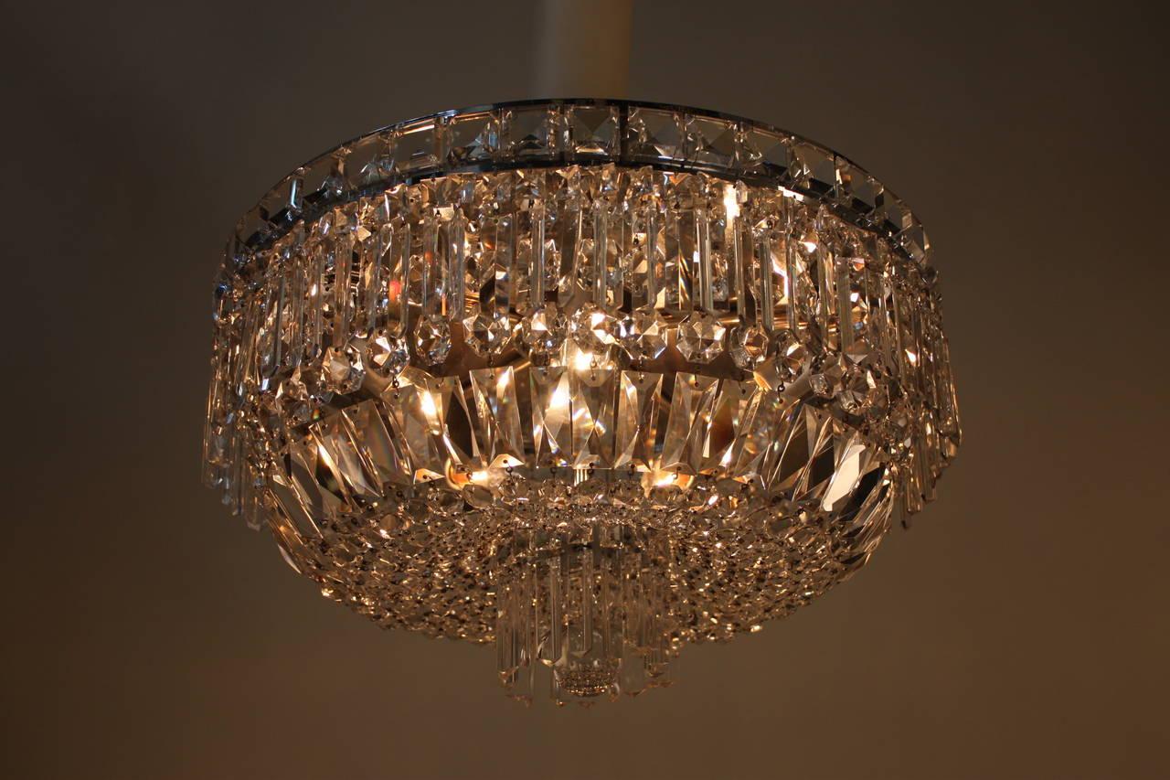 Pair of italian flush mount crystal chandeliers at 1stdibs for Flush mount crystal chandelier lighting