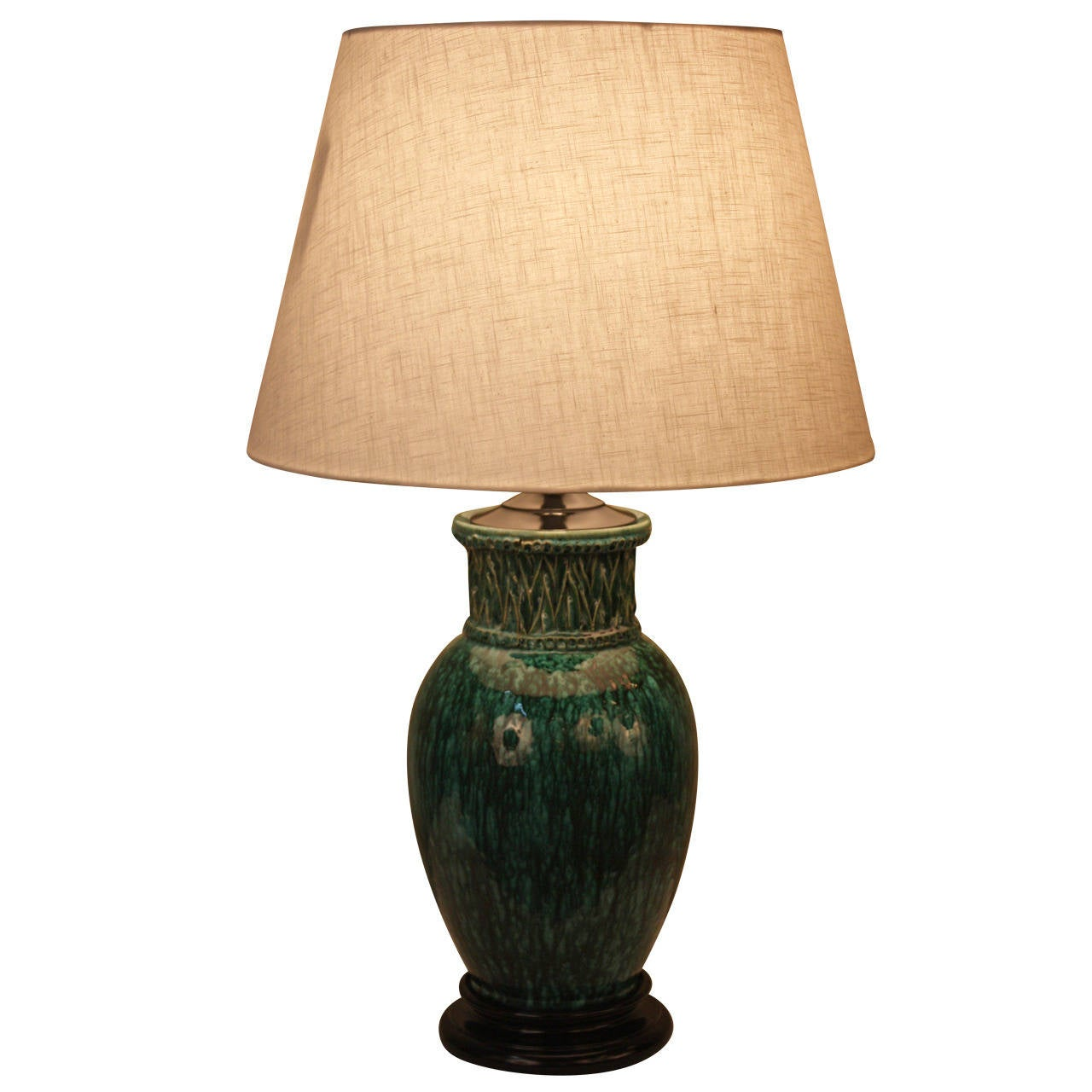 1930s French Pottery Lamp At 1stdibs