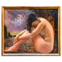 Oil on Canvas Painting of Nude Woman