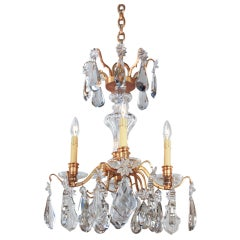 Mid-Century Crystal and Gilt Bronze Chandelier