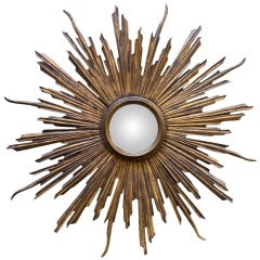 Convex Art Deco Sunburst Wall Mirror