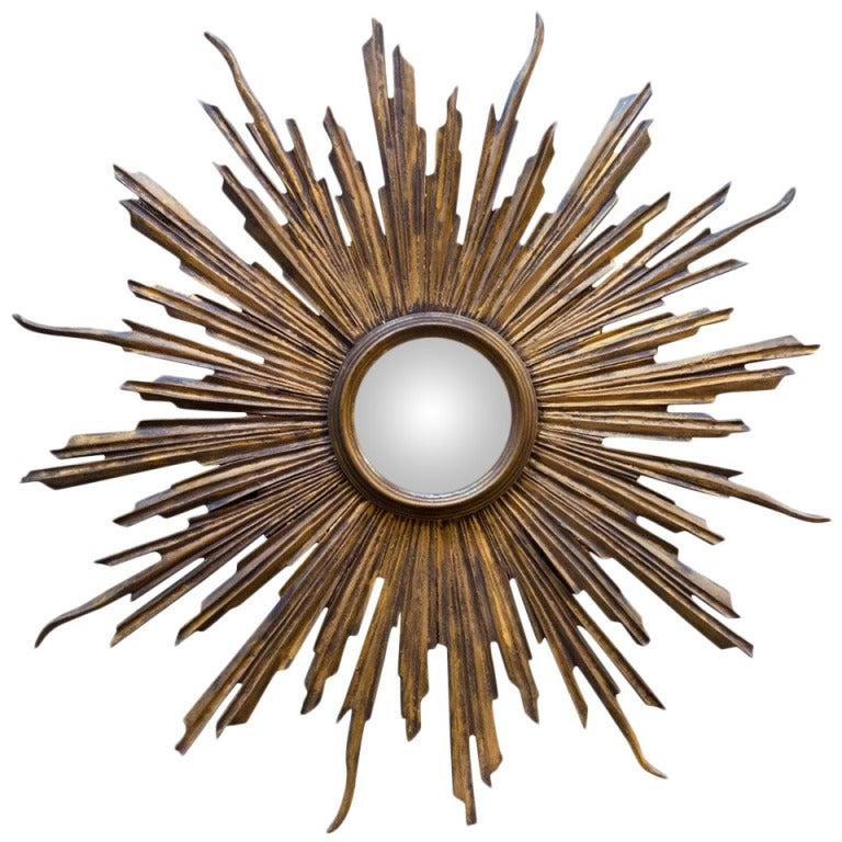 convex art deco sunburst wall mirror at 1stdibs