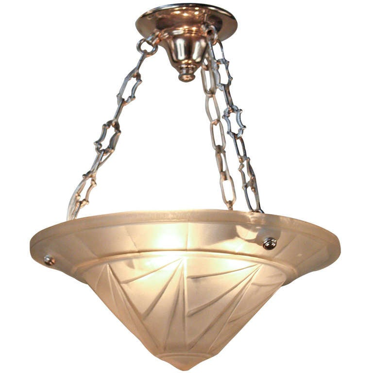 Art Deco Outdoor Hanging Lights: 1930's Art Deco Hanging Light Fixture By Jean Noverdy At