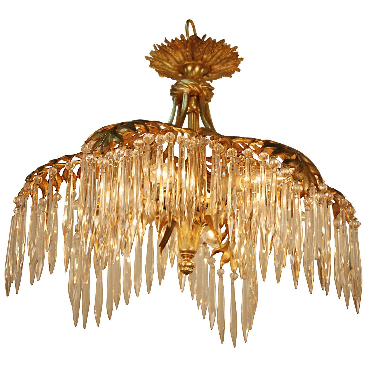 gilt bronze palm tree chandelier or flush mount 1