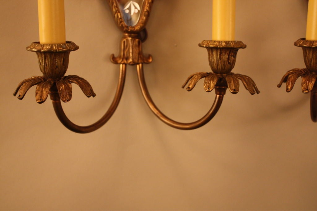 Wall Sconces Beside Mirror : Pair Of Italian Mirror Back Wall Sconces at 1stdibs
