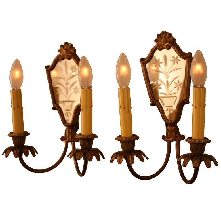 Wall Sconces With Mirrors : Pair Of Italian Mirror Back Wall Sconces at 1stdibs