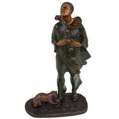 """Bronze Sculpture """"Pierrot with a Cat"""" by Robert Bousquet"""