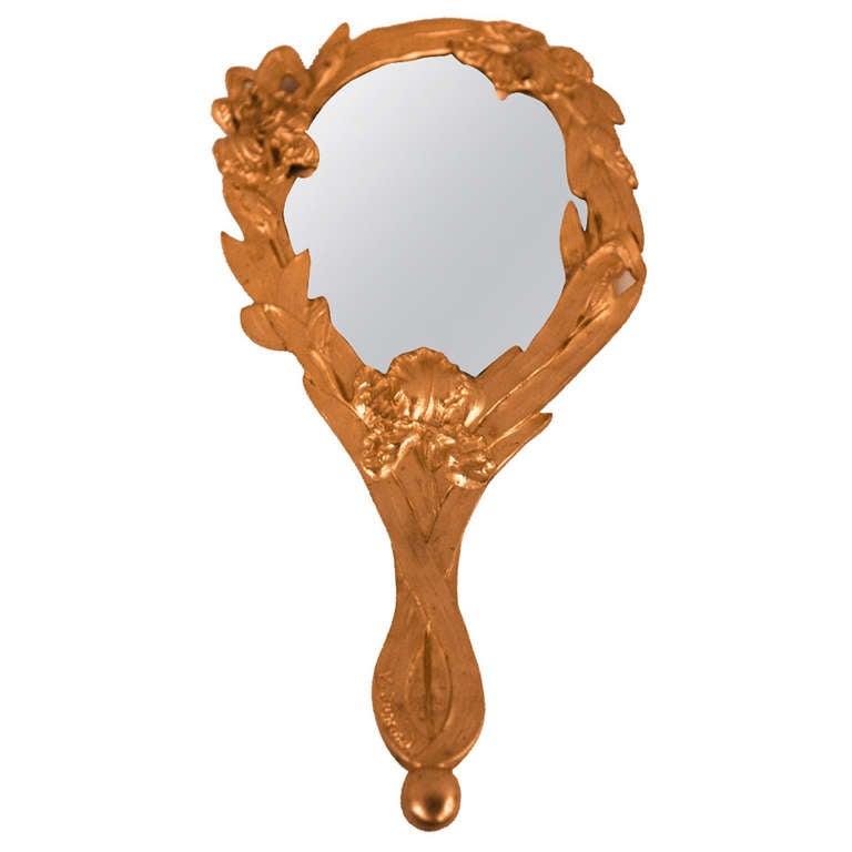 Art Nouveau Gilt Bronze Hand Mirror For Sale